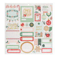 Crate Paper - Busy Sidewalks Collection - Christmas - 12 x 12 Chipboard Stickers with Gold Glitter Accents