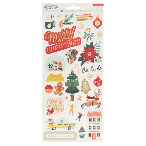 Crate Paper - Busy Sidewalks Collection - Christmas - 6 x 12 Cardstock Stickers with Gold Foil Accents