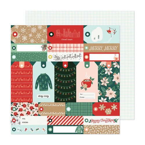 Crate Paper - Busy Sidewalks Collection - Christmas - 12 x 12 Double Sided Paper - Merry Merry