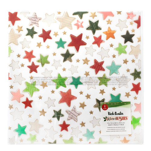 Vicki Boutin - Warm Wishes Collection - Christmas - 12 x 12 Specialty Paper - Vellum with Champagne Gold Foil Accents
