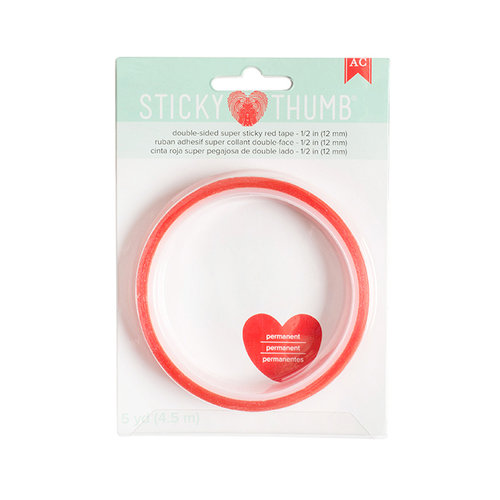 American Crafts - Adhesives - Super Sticky Red Tape - Sticky Thumb - 0.50 Inch