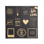 American Crafts - Documentary Collection - 12 x 12 Black Paper with Foil Accents - Pretty Please