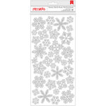American Crafts - Deck the Halls Collection - Christmas - Glitter Stickers - Snowflakes - Silver