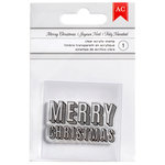 American Crafts - Deck the Halls Collection - Christmas - Clear Acrylic Stamps - Merry Christmas