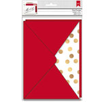 American Crafts - Deck the Halls Collection - Christmas - Envelopes - A7 - Red and Gold