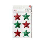 American Crafts - Deck the Halls Collection - Christmas - 3 Dimensional Stars - Red and Green