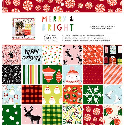 American Crafts - Navidad - Cojín de papel de 12 x 12 - Alegre y brillante
