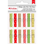 American Crafts - Christmas - Clothespins - Dots and Stripes