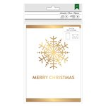 American Crafts - Christmas - Cards and Envelopes - Gold Foil - Snowflake