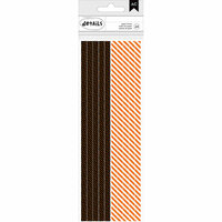 American Crafts - Halloween Collection - Paper Straws - Black Dots and Orange Stripes