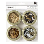 American Crafts - Office Tins - Small - Value Pack - Clothespins, Push Pins, Paper Clips, Binder Clips