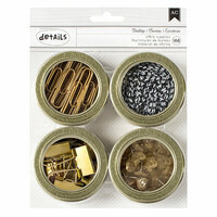 American Crafts - Office Tins - Small - Value Pack - Paper Clips, Binder Clips, Heart Push Pins