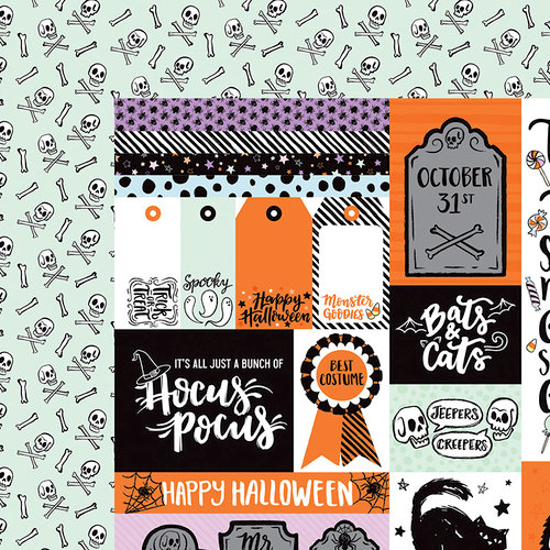 American Crafts - BOOtiful Night Collection - Halloween - 12 x 12 Double Sided Paper - Gadzooks
