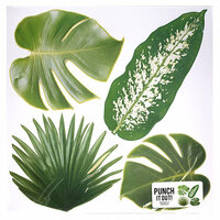 American Crafts - 12 x 12 Die Cut Paper - Multi Tropical Leaves