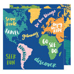 American Crafts - Hustle and Heart Collection - 12 x 12 Double Sided Paper - Map It Out