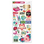 American Crafts - Hustle and Heart Collection - Cardstock Stickers with Foil Accents - Layered