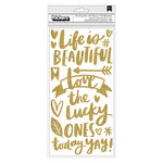 American Crafts - Hustle and Heart Collection - Thickers - Phrase - Gold Glitter