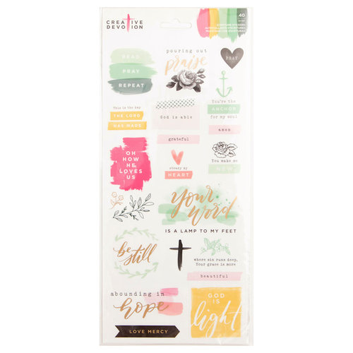 American Crafts - Creative Devotion Collection - Cardstock Stickers - Scripture with Foil Accents
