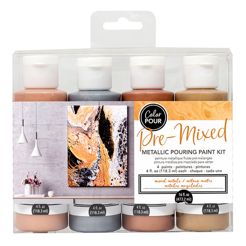 American Crafts - Color Pour Collection - Pre-Mixed Metallic Pouring Paint Kit - Mixed Metals