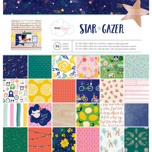 American Crafts - Star Gazer Collection - 12 x 12 Paper Pad with Foil Accents