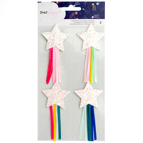 American Crafts - Star Gazer Collection - Shooting Stars with Glitter Accents