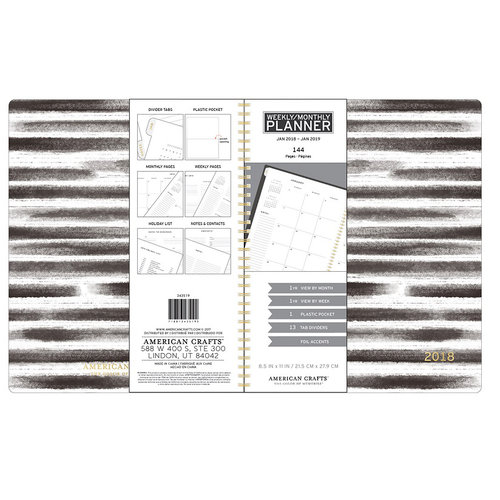 American Crafts - Monthly Planner - Black and White Stripes - Jan. 2018 to Jan. 2019