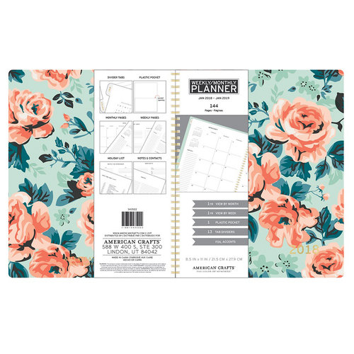 American Crafts - Monthly Planner - Mint Floral - Jan. 2018 to Jan. 2019