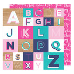 American Crafts - Glitter Girl Collection - 12 x 12 Double Sided Paper - Spell It Out