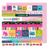 American Crafts - Glitter Girl Collection - 12 x 12 Double Sided Paper - For The Win