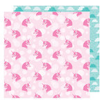 American Crafts - Glitter Girl Collection - 12 x 12 Double Sided Paper - Think Pink
