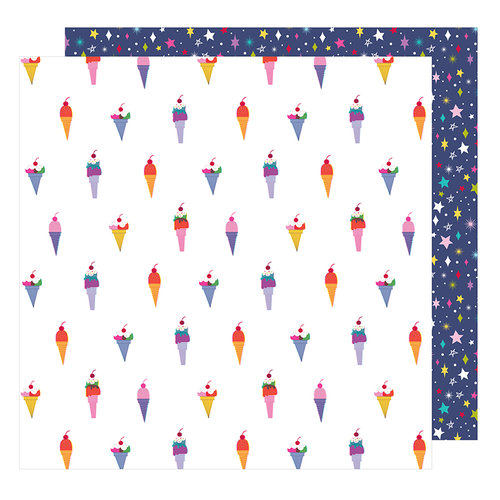 American Crafts - Glitter Girl Collection - 12 x 12 Double Sided Paper - Treat Yourself