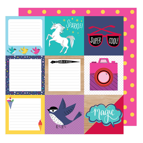 American Crafts - Glitter Girl Collection - 12 x 12 Double Sided Paper - Be a Square
