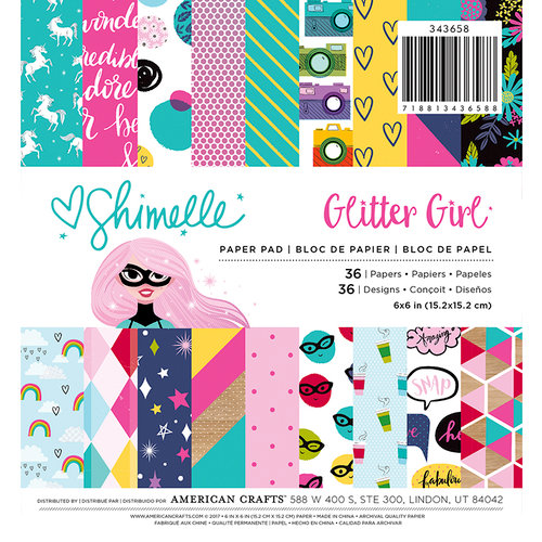 American Crafts - Glitter Girl Collection - 6 x 6 Paper Pad