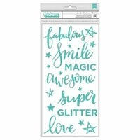 American Crafts - Glitter Girl Collection - Thickers - Sparkle - Phrases - Foam - Teal Glitter