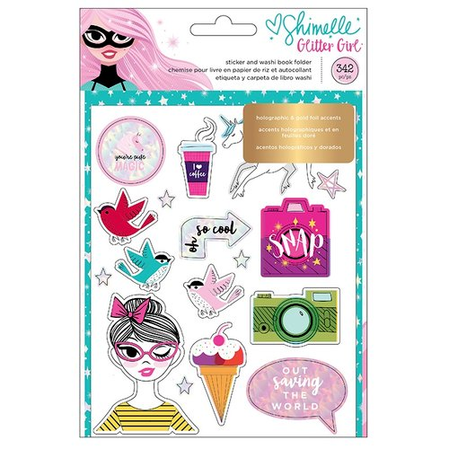 American Crafts - Glitter Girl Collection - Sticker and Washi Book with Foil Accents