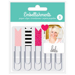 American Crafts - Paper Clips with Foil and Glitter Accents - Pink - Heidi Swapp