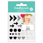 American Crafts - Enamel Shapes with Glitter Accents - Black - Heidi Swapp