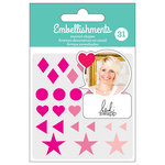American Crafts - Enamel Shapes with Glitter Accents - Pink - Heidi Swapp