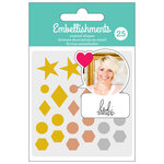 American Crafts - Enamel Shapes with Glitter Accents - Metallic - Heidi Swapp