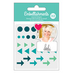 American Crafts - Enamel Shapes with Glitter Accents - Teal - Heidi Swapp