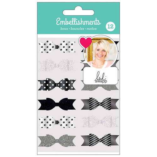 American Crafts - Fabric Bows with Glitter Accents - Black and White - Heidi Swapp