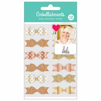 American Crafts - Fabric Bows with Foil and Glitter Accents - Gold - Heidi Swapp