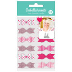American Crafts - Fabric Bows with Glitter Accents - Pink - Heidi Swapp