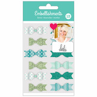 American Crafts - Fabric Bows with Foil and Glitter Accents - Teal - Heidi Swapp