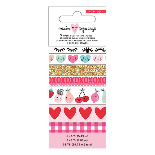 Crate Paper - Main Squeeze Collection - Washi Tape Set with Glitter Accents