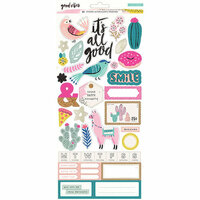 Crate Paper - Good Vibes Collection - Cardstock Stickers with Foil Accents