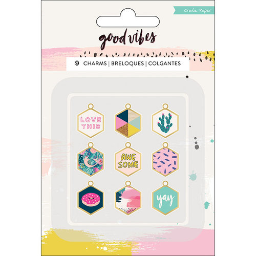 Crate Paper - Good Vibes Collection - Charm Embellishments