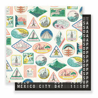 Crate Paper - Here & There Collection - 12 x 12 Double Sided Paper - Passport