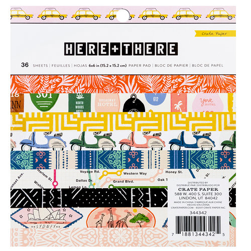Crate Paper - Here & There Collection - 6 x 6 Paper Pad