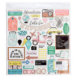 Crate Paper - Here & There Collection - Chipboard Stickers with Glitter Accents